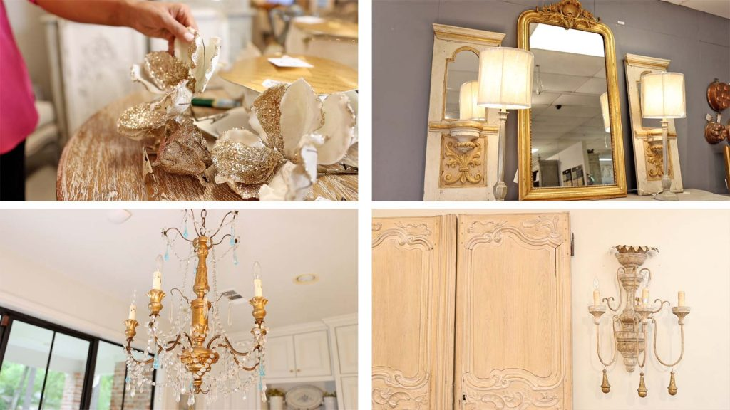 Gold holiday decor, mirror, chandelier, and sconce all found at Village Antiques, by Amitha Verma.