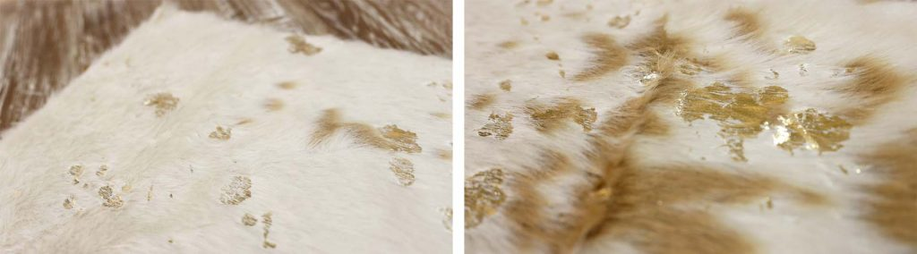 Closeup details of faux fur table runner farmhouse fall decor trend, by Amitha Verma.