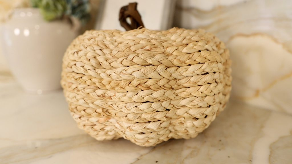 To bring in the fall feeling into her home, Amitha Verma adds wicker pumpkins on her countertops.