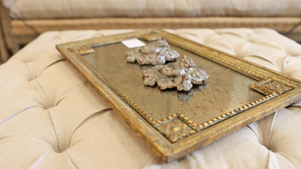 Antique style gold tray from Village Antiques in Houston adds to the farmhouse fall decor trends of 2021, by Amitha Verma.