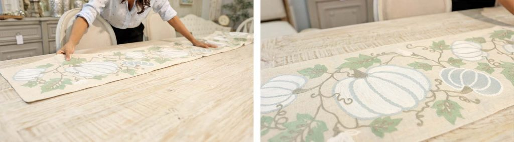 Amitha Verma styles a new farmhouse fall decor trend table runner that has green embroidered details for fall decorating, at Village Antiques.