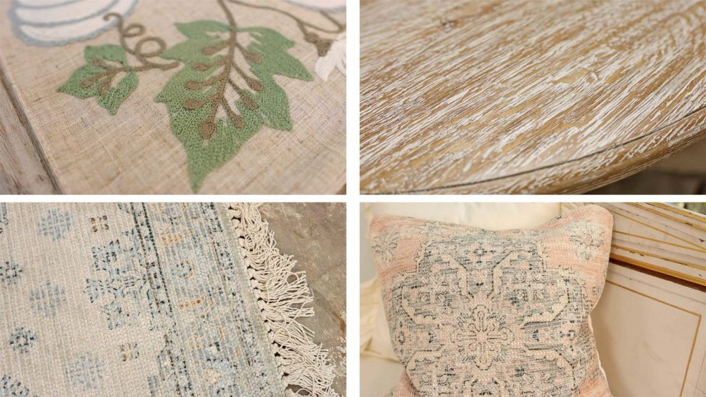 Farmhouse fall decor trends found at Village Antiques include various types of textured fabrics and surfaces seen in embroidered table runners, tabletops, rugs, and pillows. All designed by Amitha Verma.