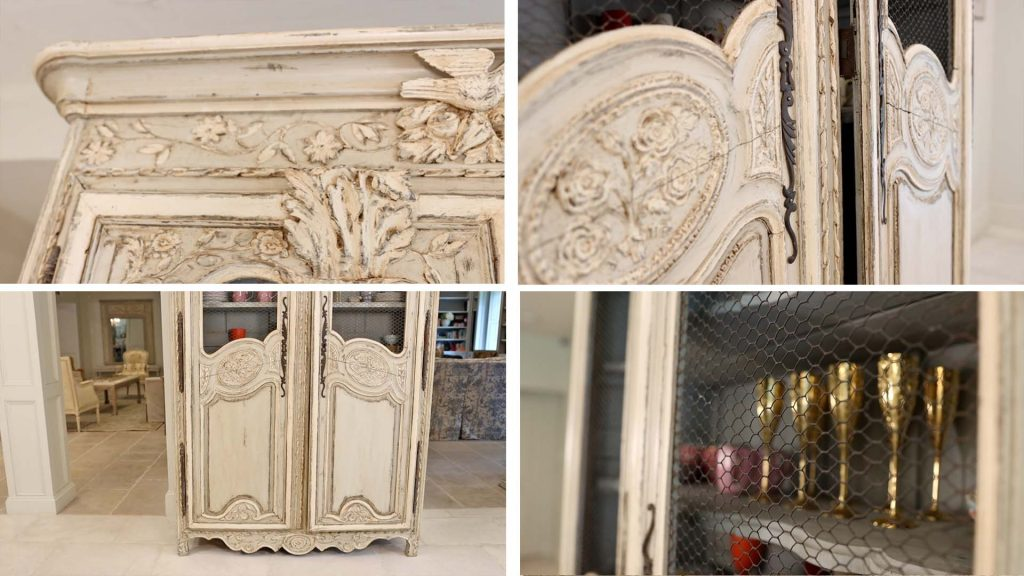 Chippy painted details, chicken wire doors, and cracked framing on the farmhouse furniture piece in Amitha Verma's kitchen gives it the character she was looking to add.