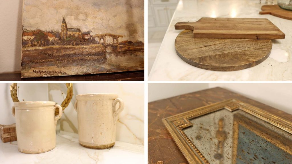 Instead of adding large pieces of farmhouse furniture to a home to add character, Amitha Verma suggests adding vintage inspired home decor like art, breadboards, aged kitchenware, and trays.